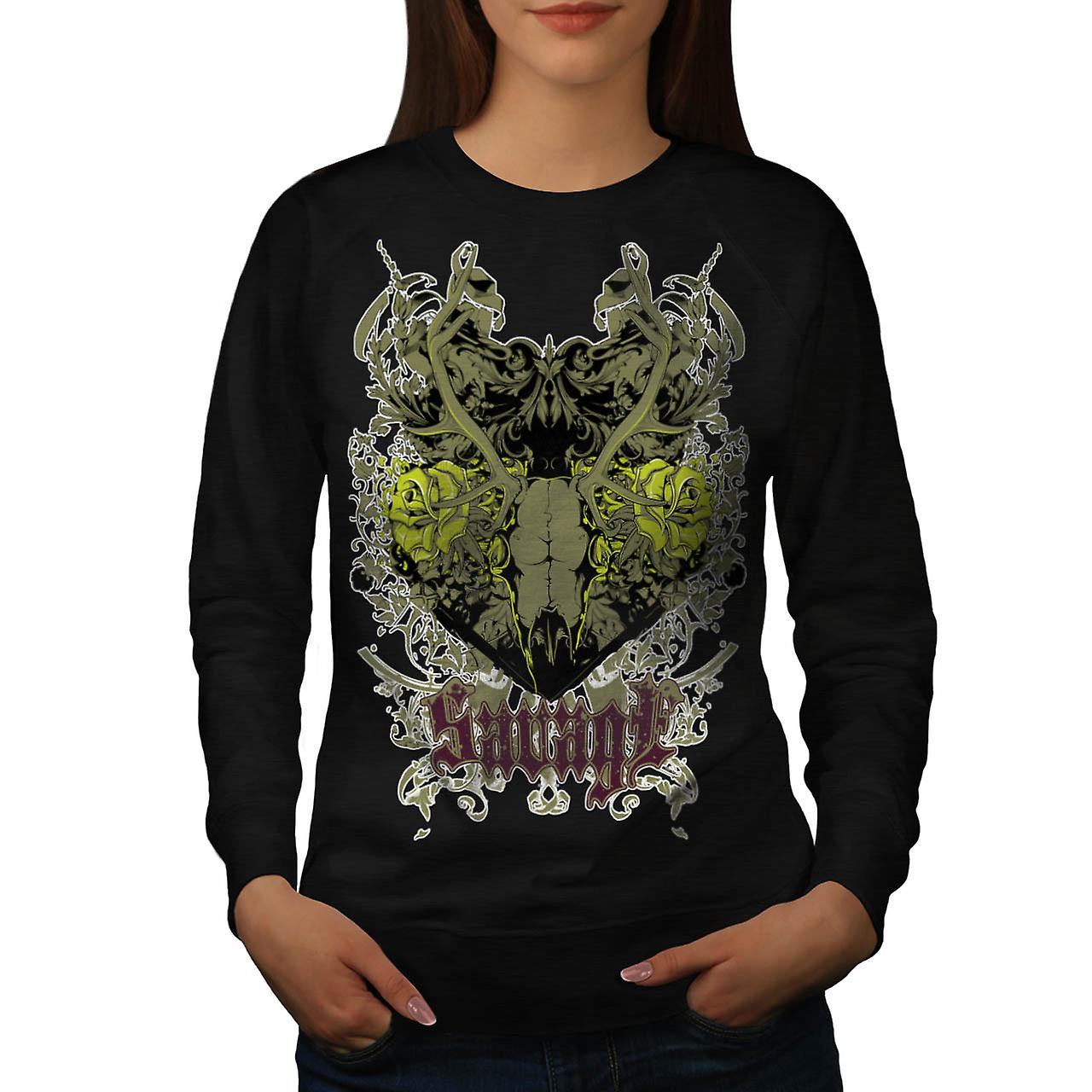 Savage Animal Skull Goat Head Women Black Sweatshirt | Wellcoda