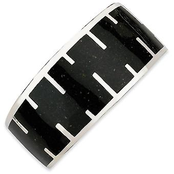 Sterling Silver Black Resin and Sand Cuff Bracelet