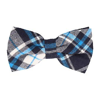 Andrews & co. fly tied bow tie grotesque Plaid Navy Blue light blue white