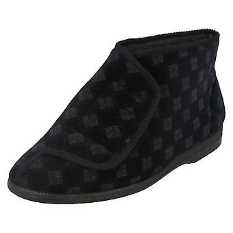Mens Balmoral Chequered Pattern Bootee Slippers VB M25