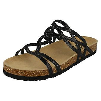 Womens Down To Earth Cork Effect Glitter Sandals