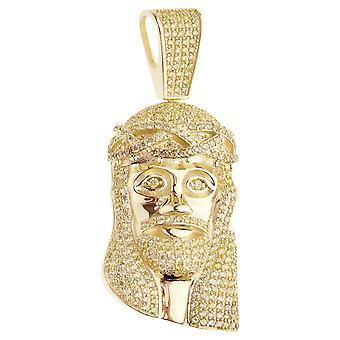 Premium Bling - 925 sterling sølv Jesus hodet anheng gull