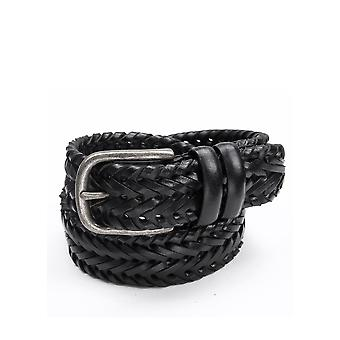 Walton Plaited Leather Belt in Black
