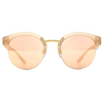 Burberry Half Rim Round Sunglasses In Matte Pink Gold