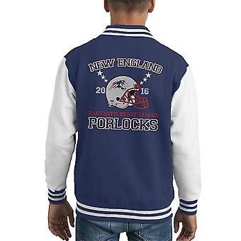 Bestie fantastiche lega Varsity Jacket New England Porlocks casco capretto