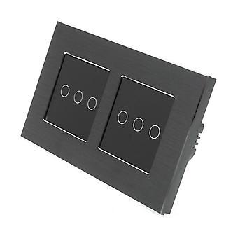 Yo LumoS negro aluminio cepillado doble bastidor 6 pandillas 2 forma Touch luz LED interruptor negro