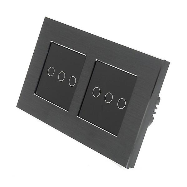 I LumoS noir Brushed Aluminium Double Frame 6 Gang 2 Way Touch LED lumière Switch noir Insert