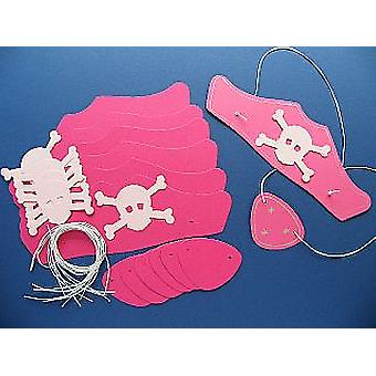 10 Pink Card Pirate Hats & Patches Kit for Kids Parties & Crafts