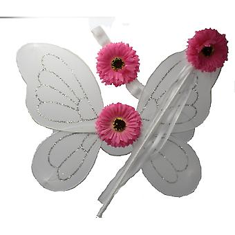 Children�s White Flower Fairy Accessory Set Wings with Flower Wand & Headband