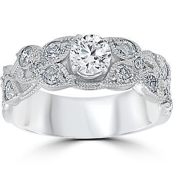 2ct Vintage Filigree Diamond Engagement Ring 14K White Gold