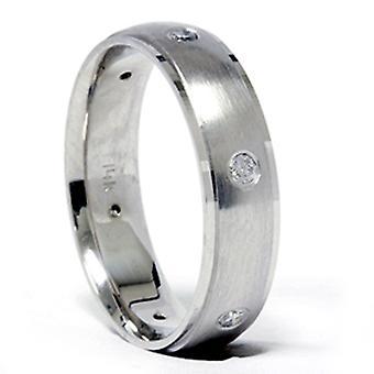 Anello di diamante smussato Wedding Band Mens 14k oro bianco
