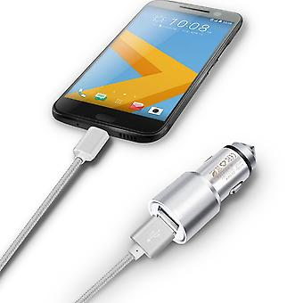 ONX3 (Silver) Quick Charge Dual Port USB Full Aluminium Cased Car Charger Adaptor (3.1A/24W) With Break Glass Safety Hammer & 1 Meter Micro-USB Nylon Braded Data Cable For Blu Studio Selfie Lte