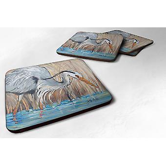 Carolines Treasures  JMK1228FC Set of 4 Blue Heron Foam Coasters