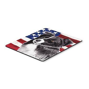 USA American Flag with Border Collie Mouse Pad, Hot Pad or Trivet