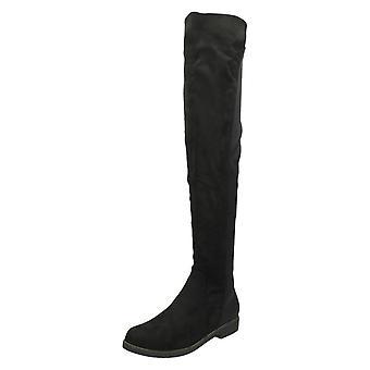 Ladies flekk på Flat Boots knehøye F50850