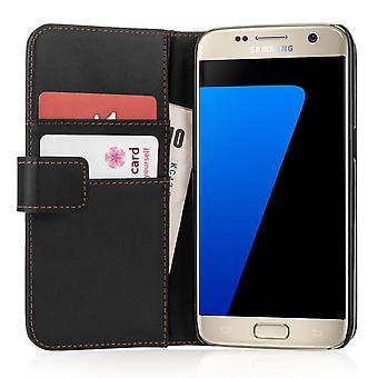 Samsung Galaxy S7 efecto cuero cartera caja - negro