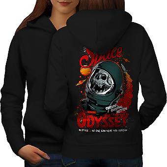 Space Odyssey Death Skull Women BlackHoodie Back | Wellcoda