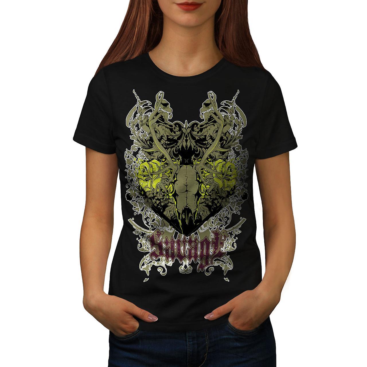 Savage Animal Rose Skull Women Black T-shirt | Wellcoda