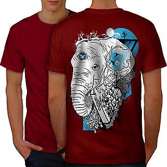 Elephant Wild Head Men RedT-shirt Back | Wellcoda