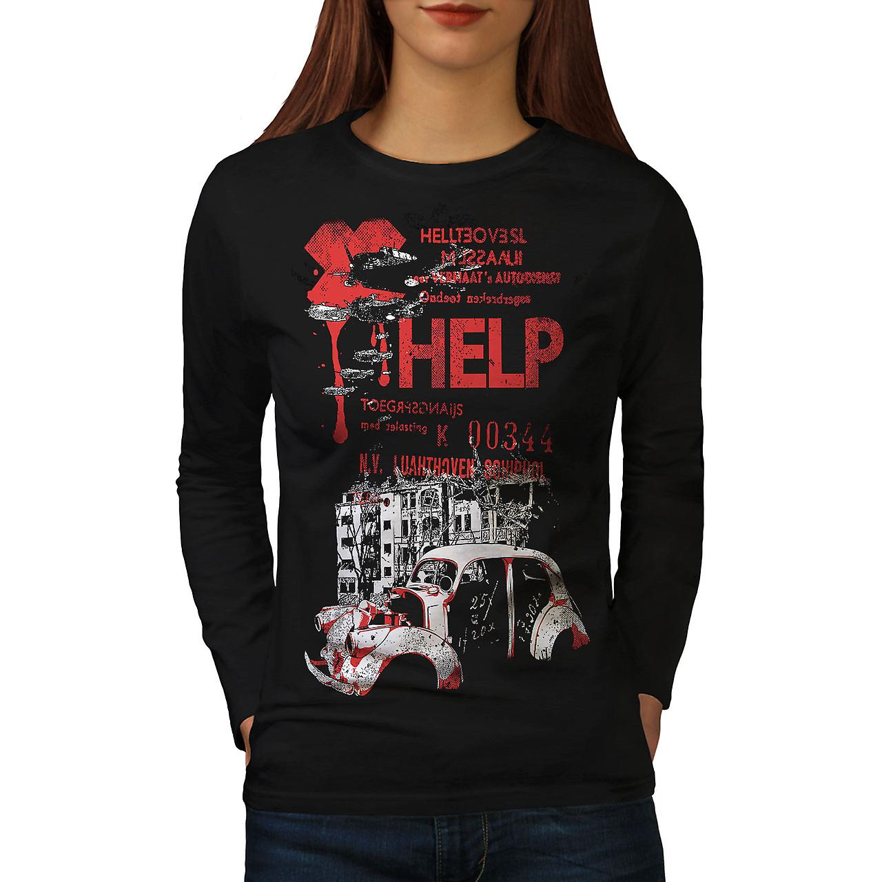 Help Hell City Fashion Women BlackLong Sleeve T-shirt | Wellcoda