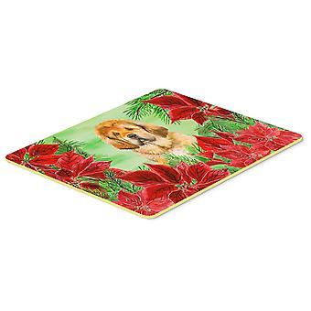 Tibetan Mastiff Poinsettas Kitchen or Bath Mat 20x30