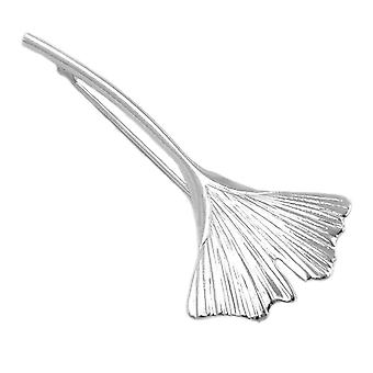 Brooch silver Lady brooch GINKGO Ginkgo leaf 60 mm polished Silver 925