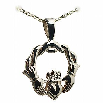 9ct Gold 27x30mm twisted cord top Claddagh Pendant with belcher Chain 16 inches Only Suitable for Children