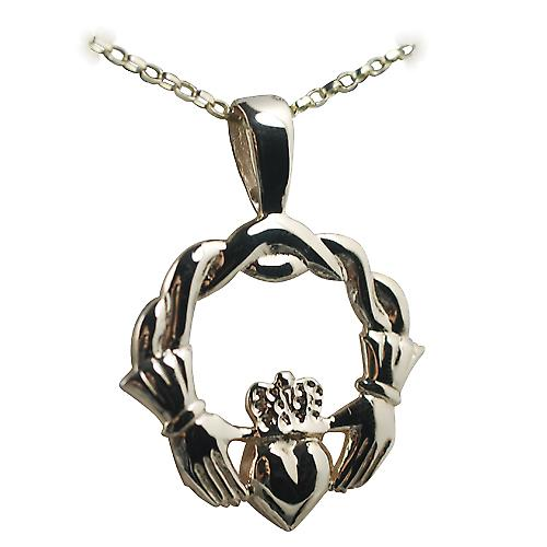 9ct Gold 27x30mm Claddagh with Belcher chain
