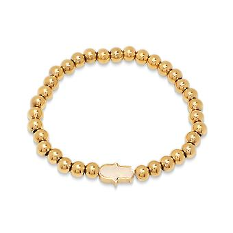 Ladies 18K Gold Plated Stainless Steel Beaded Bracelet