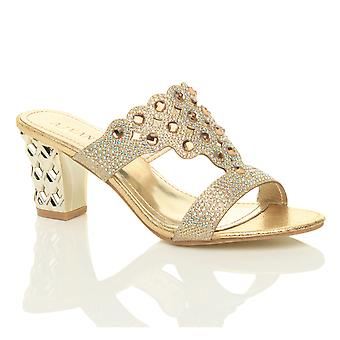 Ajvani womens mid high block heel prom diamante evening slip on mules sandals