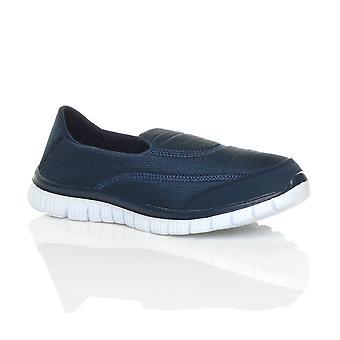 Ajvani dame flade gym sport slip på hukommelse skum comfort sko undervisere sneakers