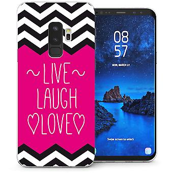 Samsung Galaxy S9 Plus Live Laugh Love TPU Gel Case – Pink