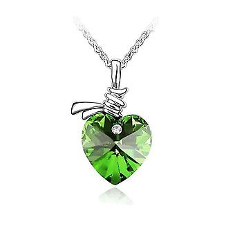 Womens Love Heart Pendant Ribbon Necklace in Green