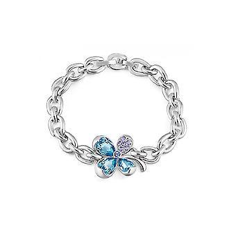 Armband Swarovski Elementen kristallblauen Klee und Rhodium-Platte
