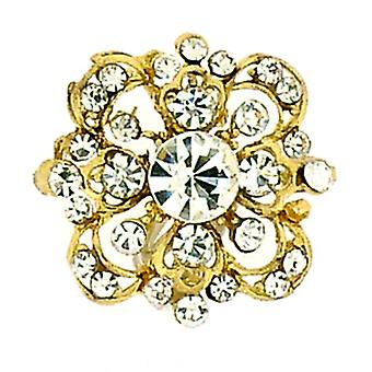 Brooches Store Small Victorian Gold  and  Crystal Flower Brooch