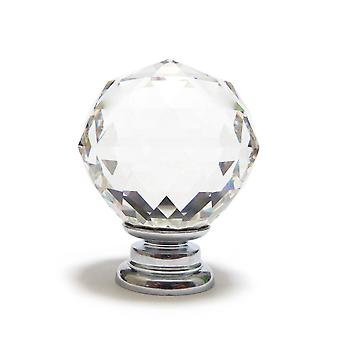 Small Clear Crystal Faceted Cut Glass Knob
