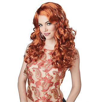 Chockvågor Glamour kändis stjärna Auburn vågig lugg Womens kostym peruk