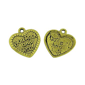Packet 4 x Antique Bronze Tibetan 30mm You Rock And Roll Charm/Pendant ZX15590