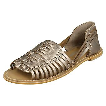 Ladies Leather Collection Flat Weave Sandals F00145 - Dull Gold Leather - UK Size 5 - EU Size 38 - US Size 7