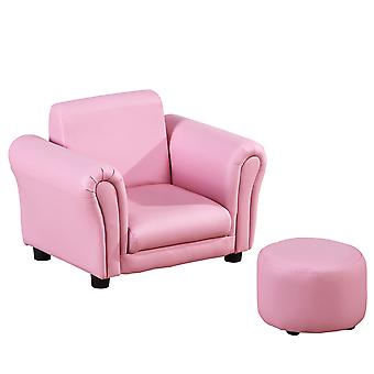 HOMCOM Single Seater Kids Sofa Set Children Couch Seating Game Chair Seat Armchair w/ Free Footstool (Pink)