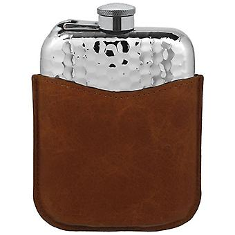 Hammered Pewter Purse Flask with Captive Top and Leather Pouch