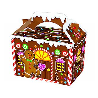 Single Gingerbread House Card Christmas Party Food or Treat Box