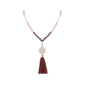 Gemshine - mala ketting - HANGERS - VERGULD - edelsteen - roze - beige - 80 cm