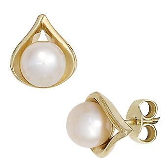 Earring Pearl Earring studs, 585 / - Gelbgold, 2 Freshwater Pearl, height approx. 10.7 mm