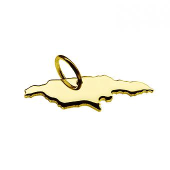 Trailer map Jamaica pendant in solid 585 yellow gold