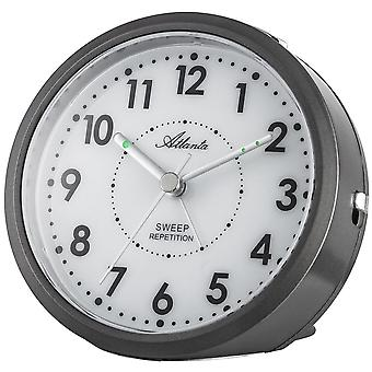 Atlanta 1767/4 alarm clock quartz analog anthracite quietly without ticking with light