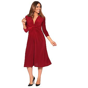 KRISP 3/4 Sleeve Knot Front Midi Dress