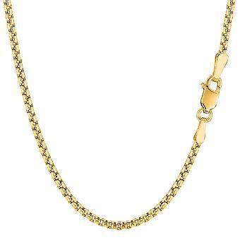 14 k żółty złoto okrągłe pole łańcuch naszyjnik, 2,1 mm