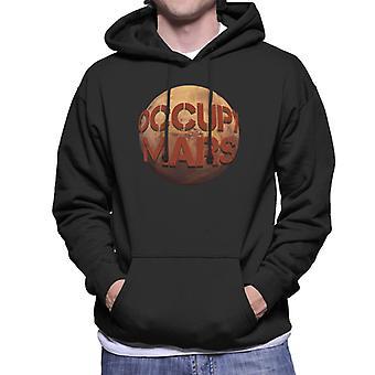 Occupy Mars Round Text Men's Hooded Sweatshirt