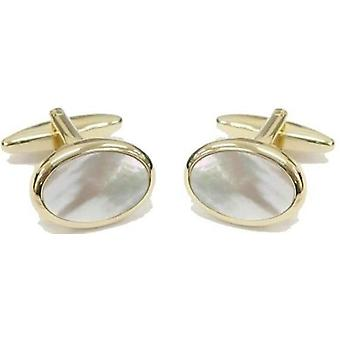 David Van Hagen Gold Plated Mother of Pearl Oval Cufflinks - White/Gold